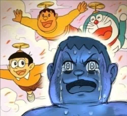 Meme Chaien khóc lóc trong Doravemon - Jaian khóc