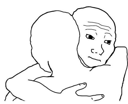 Meme 2 thằng mặt thộn ôm nhau - I know that feel bro