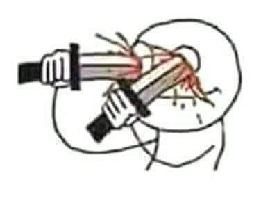 Chọc mù mắt tao đi meme - lấy 2 dao đâm vào mắt