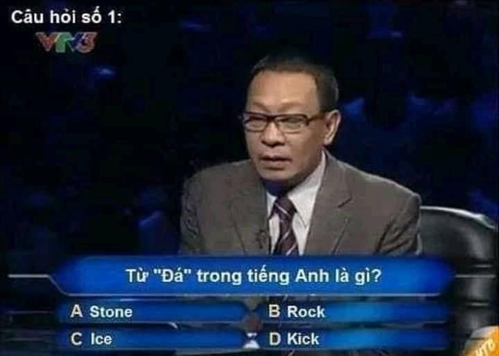 """Ai là triệu phú: Từ """"đá"""" trong tiếng Anh là gì?"""
