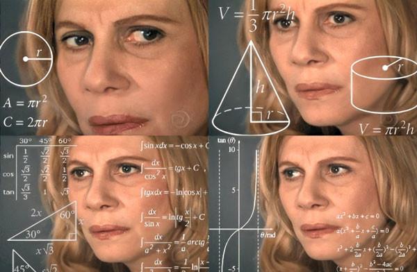 Người phụ nữ suy nghĩ bối rối với đồ thị hàm số công thức