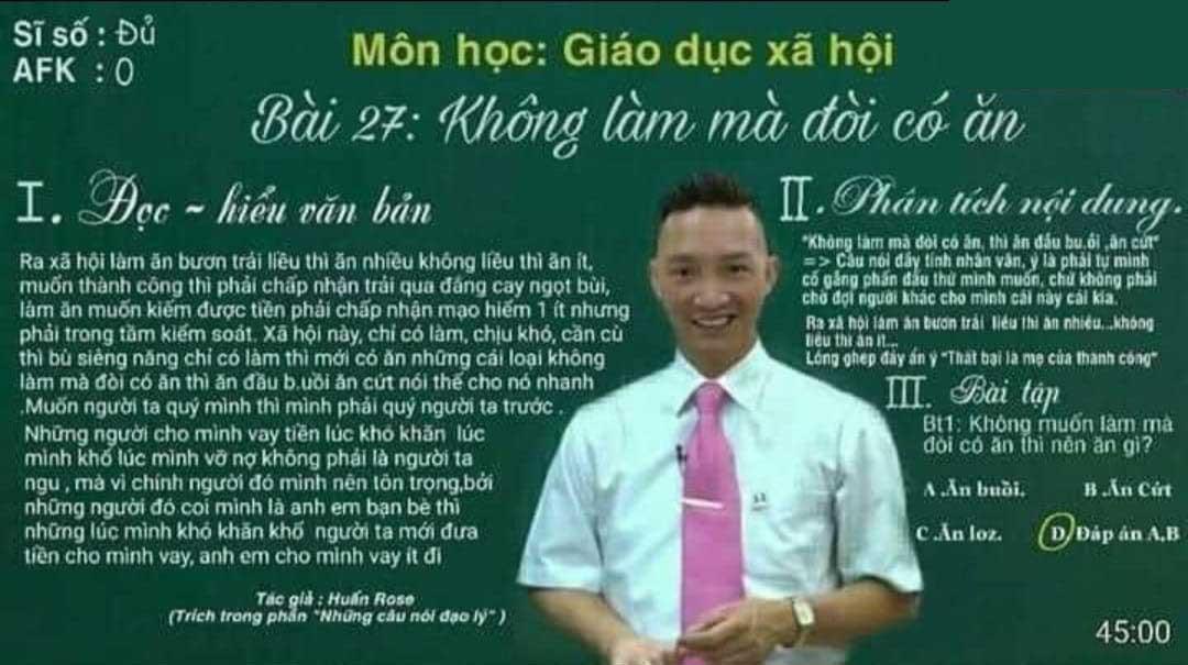 Thấy giáo Huấn Hoa Hồng giảng bài môn Giáo dục xã hội