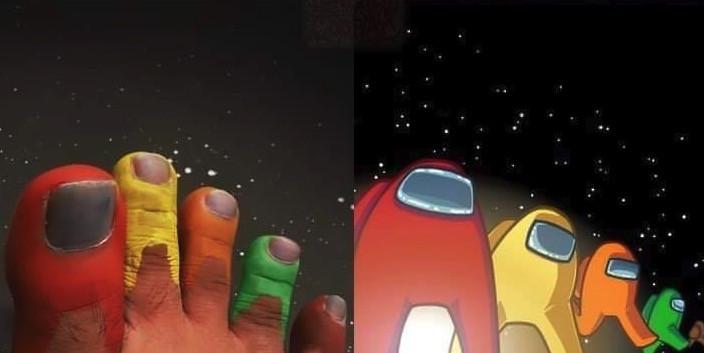 5 ngón chân tạo hình 5 nhân vật game Among Us