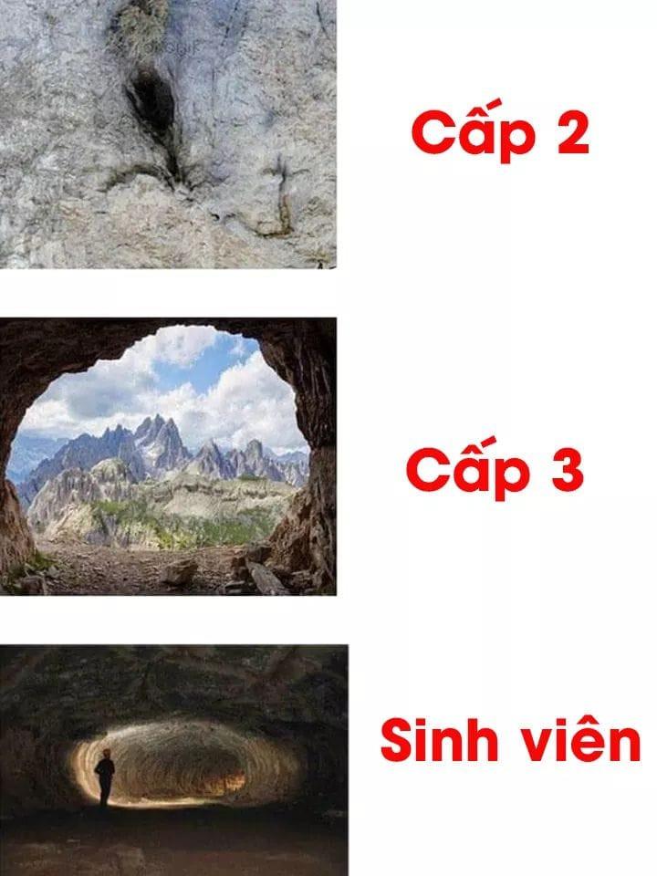 Ảnh lỗ hang động: Sự khác biệt giữa cấp 2, cấp 3 và sinh viên