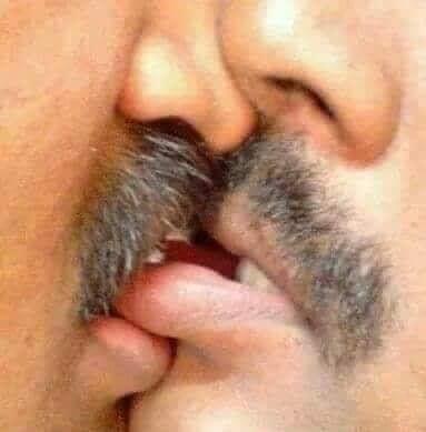 Hai đôi môi đầy râu của hai người đàn ông hôn cắn môi nhau