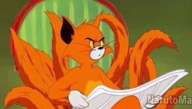 Mèo Tom đọc báo hóa thành cáo chín đuôi trong Naruto