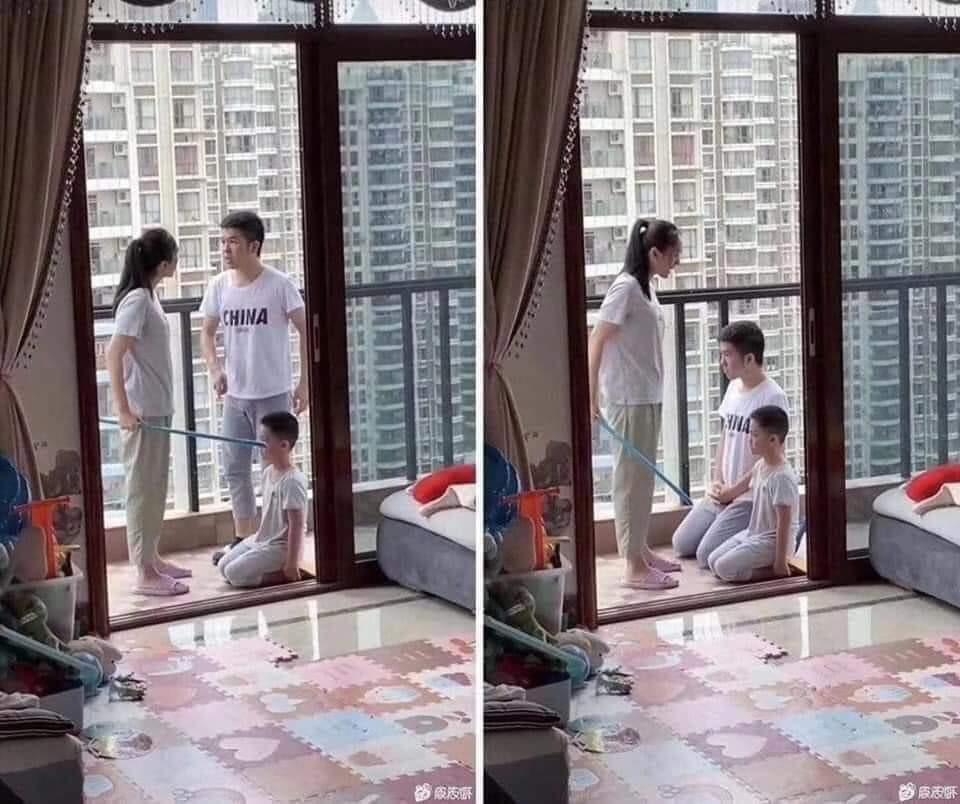 Hình ảnh hai bố cùng con quỳ khi vợ cầm chổi mắng