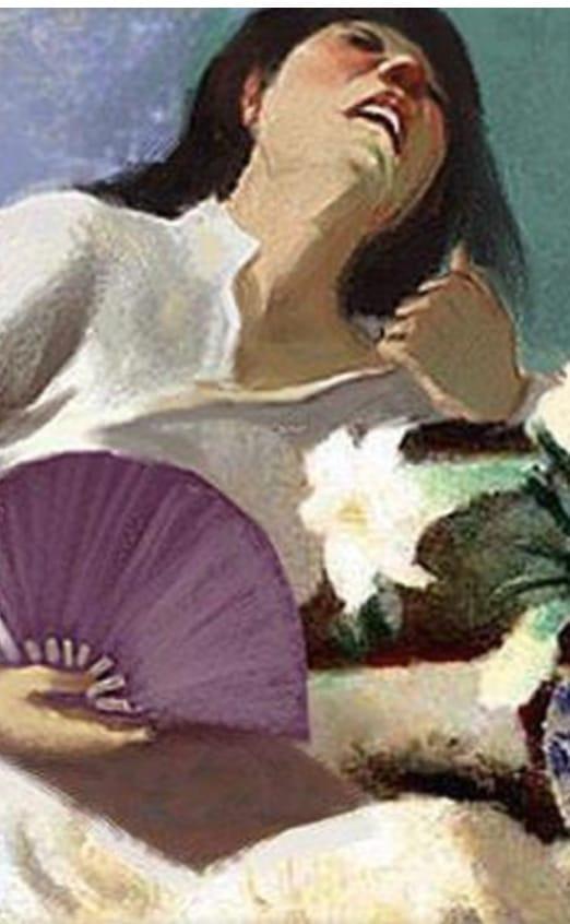 Bức tranh Cô gái bên hoa huệ quá nóng cởi áo quạt cho mát