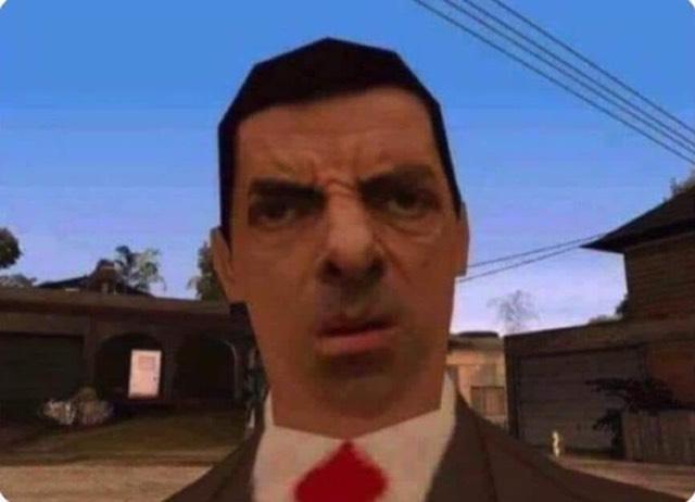 Khuôn mặt của Mr. Bean trong game thể hiện sự khó hiểu