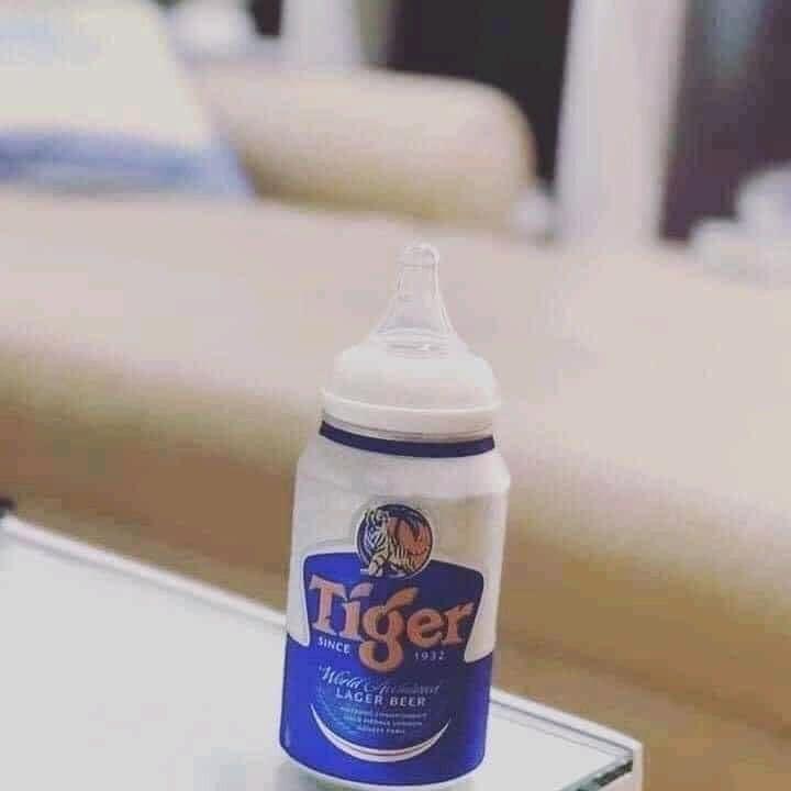 Hình ảnh lon bia tiger có núm ti trên nắp