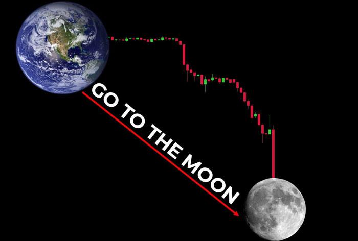 Biểu đồ chứng khoán 'Go to the moon' hình trái đất mặt trăng