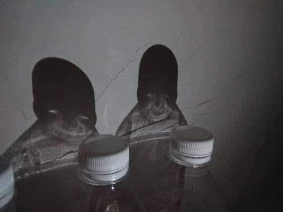 Bóng của hai chai nước khoáng có hình hai con ma
