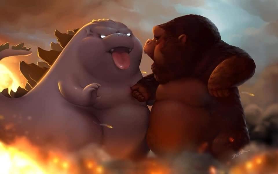 Godzilla với Kong béo ú cute ngắt zú nhau
