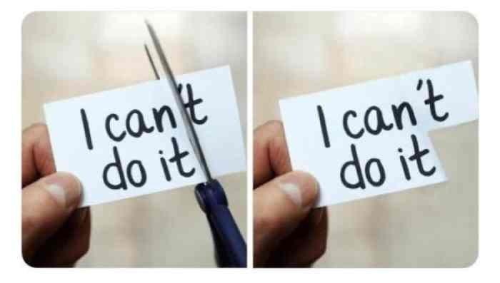 Lấy kéo cắt chữ I can't do it nhưng không cắt được