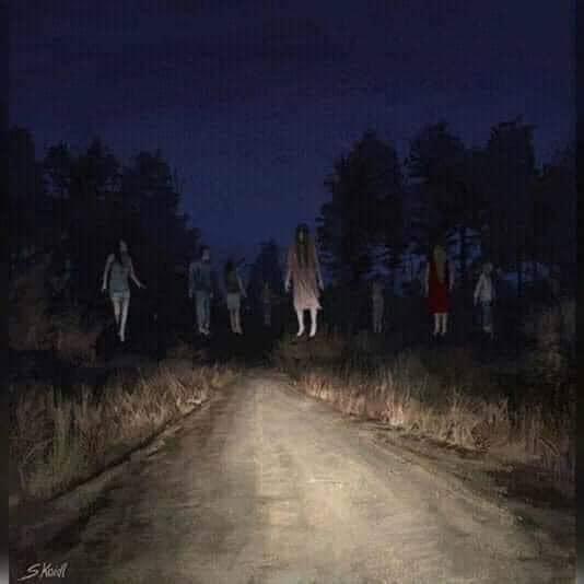 Đi đường ban đêm gặp rất nhiều ma đang bay lơ lửng