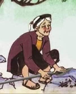 Bà cụ già đang mài dao phóng lợn
