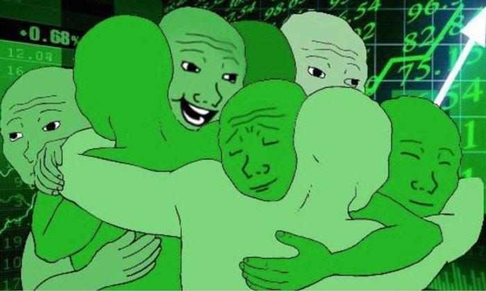 Nhiều người màu xanh ôm nhau chúc mừng khi chứng khoán hoặc coin tăng điểm